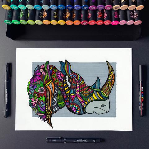 Rhino - A3 artwork