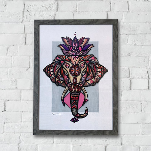 Airavata the Elephant - A2 Framed Signed Print