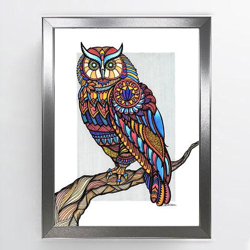 Owl of Athena - A3 Framed Signed Original Artwork