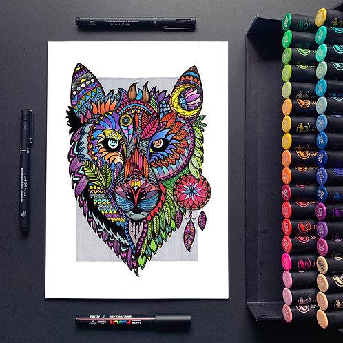 Native Wolf - A3 Print