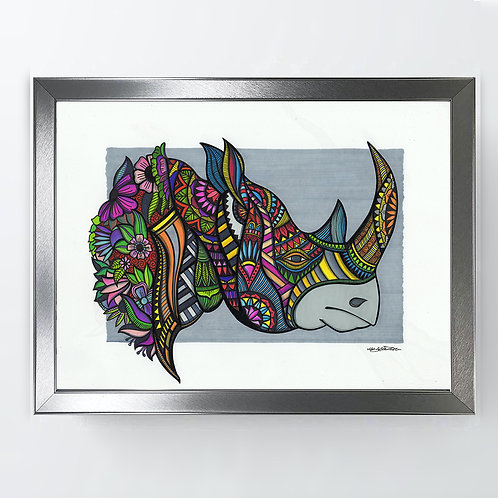 Rhino - A3 Framed Signed Original Artwork