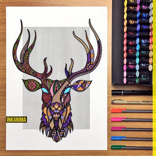 Charlie The Deer - Framed Signed Original Artwork