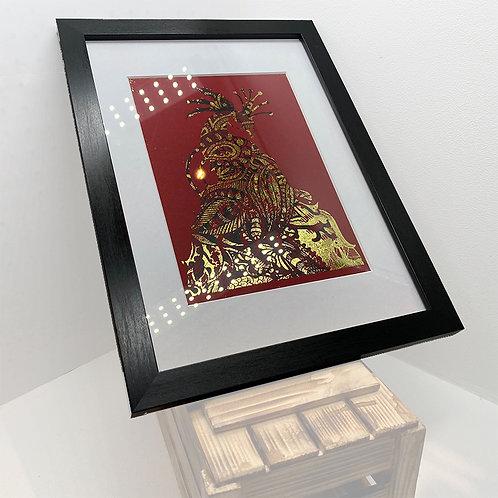 Majestic Peacock framed foil print