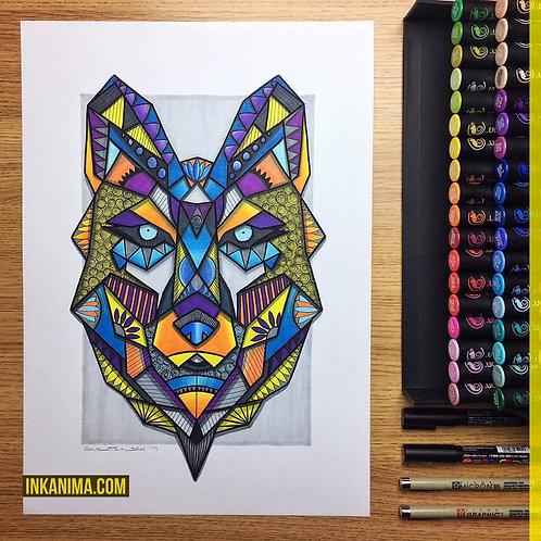 Otsanda the Wolf - Framed Signed Original Artwork