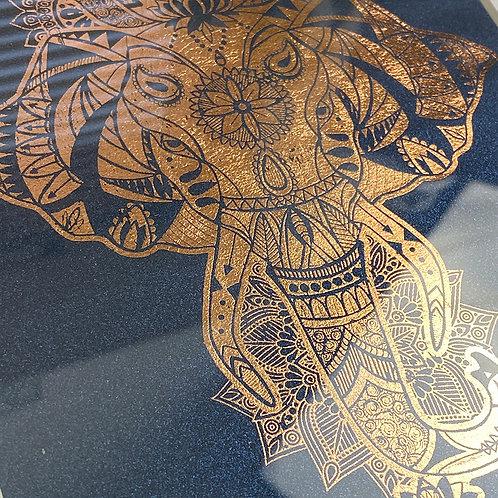 Elephant framed foil print