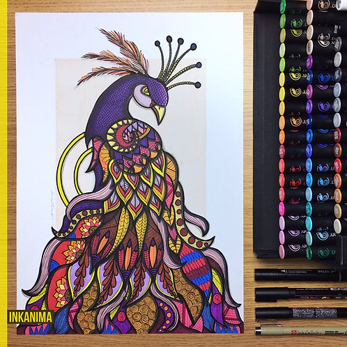 The Majestic Peacock - Framed Signed Original Artwork