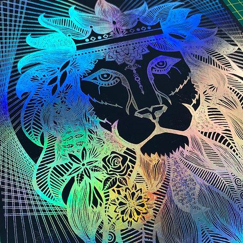Lion King - A4 framed foil print
