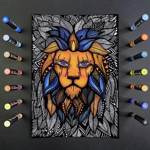Lion Heart - A3 Framed Hand Drawn Embellished Artwork