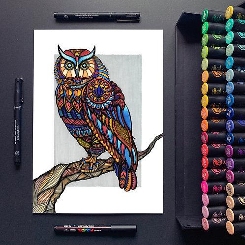 Owl of Athena - A3 Print
