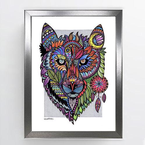 Wolf - A3 Framed Signed Original Artwork