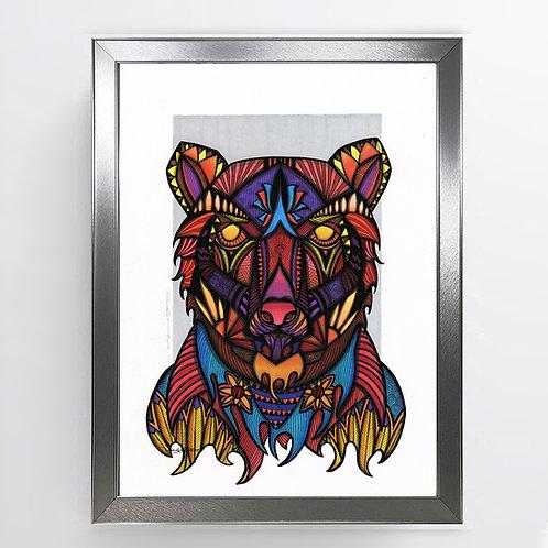 Fire Bear - A3 Framed Signed Original Artwork