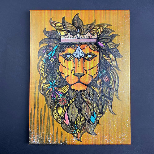 Hand Embellished Lion King - Canvas Print (30 x 40cm)