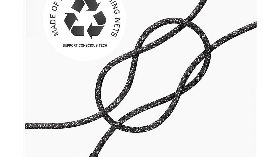 Black iPhone Lightning cable · 2 meter · Made of recycled fishing nets