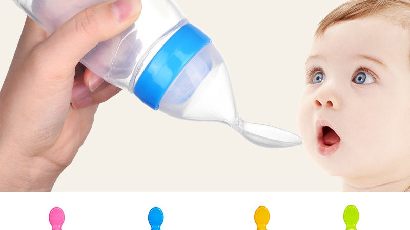 90mL Silicone Baby Feeder Bottle Spoon Newborn Squeeze Bottle Baby Safe Spoon