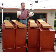 John Schneider, of Partch LA, tries his hand on the just completed Marimba Eroica.
