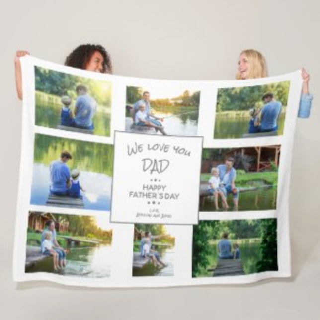 8 photo collage blanket for Dad