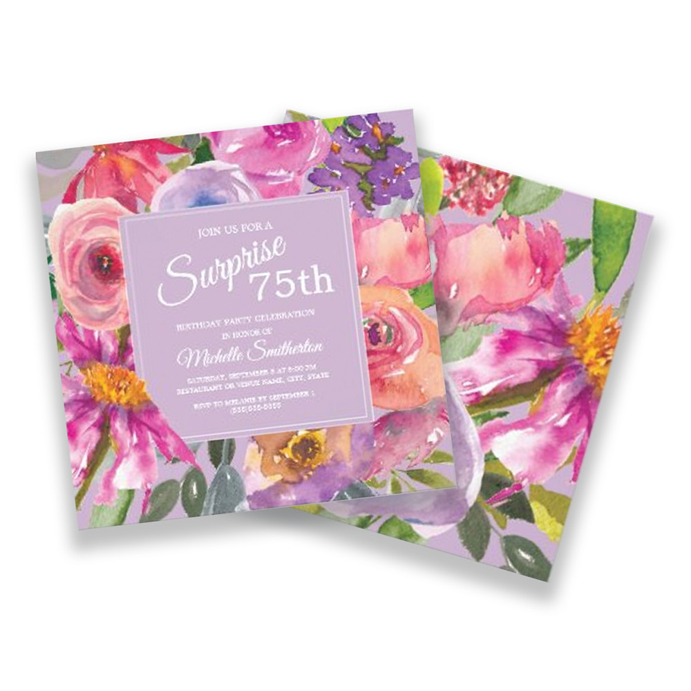 75th Birthday party invitation for women designed with purple and pink watercolor wildflowers