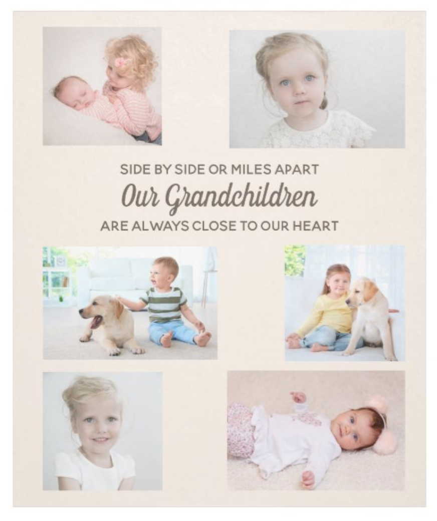 """Fleece blanket for grandparents with gifts of their grandchildren. Text says, """"Side by side or miles apart, our grandchildren are always close to our heart."""""""