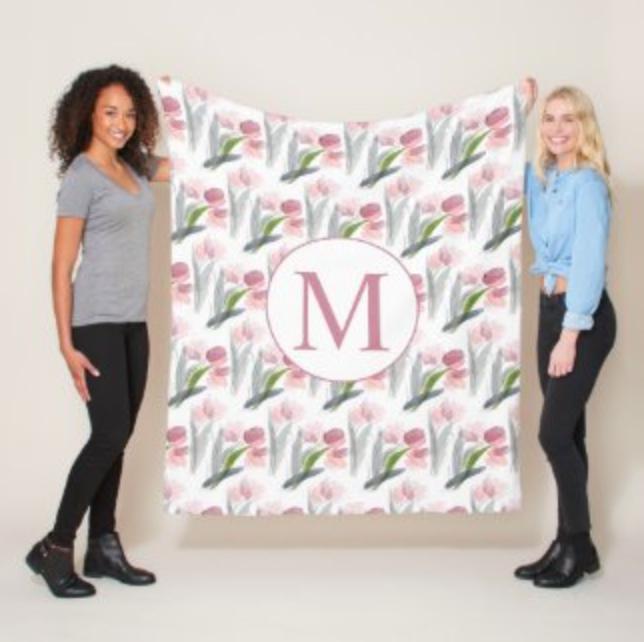 Pink watercolor tulips monogram fleece blanket