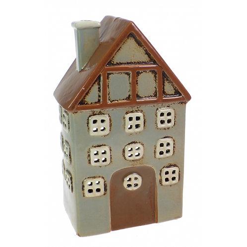 Ceramic Tealight House Grey & Brown
