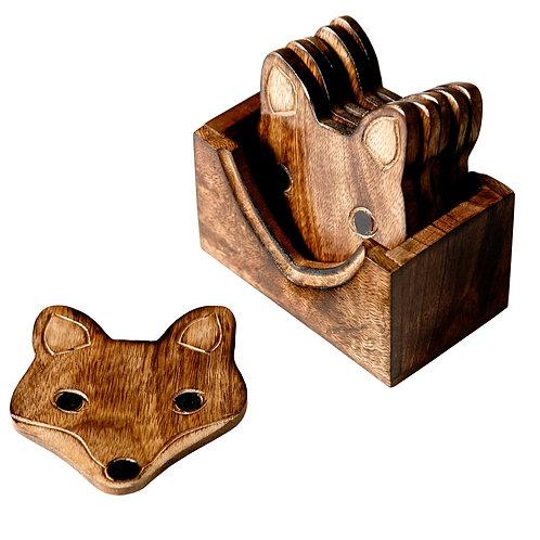 Wooden Fox Coasters
