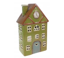 Ceramic Tealight House Green with Clock