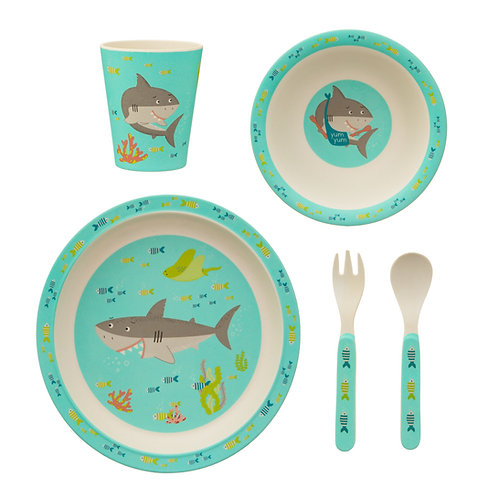 Shelby Shark Bamboo Tableware Set