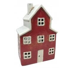 Ceramic Tealight House Red