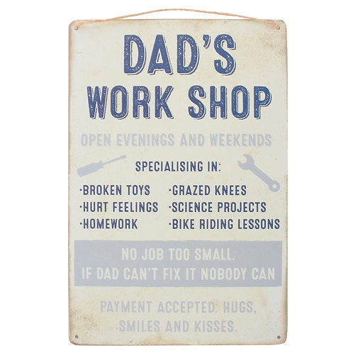 Dad's Work Shop Hanging Sign