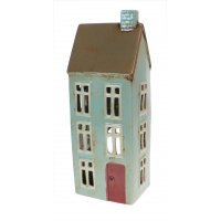 Ceramic Tealight Cottage with Red Door