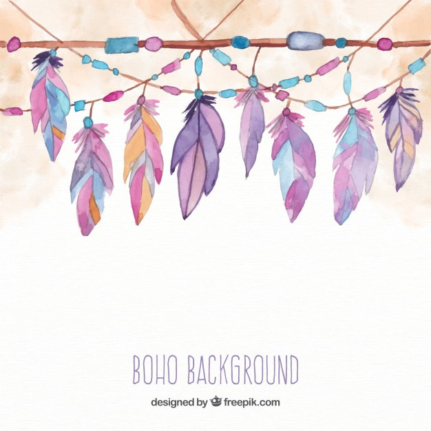 boho-background-with-feathers-watercolor