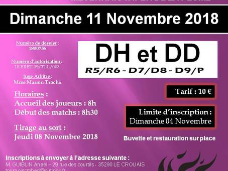 Tournoi Adulte - 11 Novembre 2018 - Les convocations en ligne !