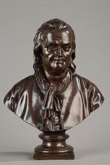 Buste de Voltaire en bronze, fonte Barbedienne