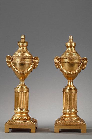 Cassolettes réversibles , bronze doré 19ème s.