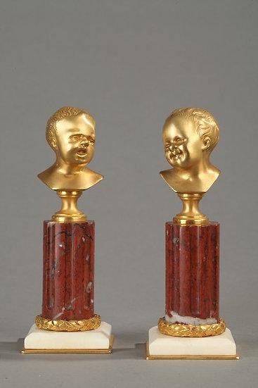 Jean qui rit, Jean qui pleure.Bronze doré et marbre griotte.