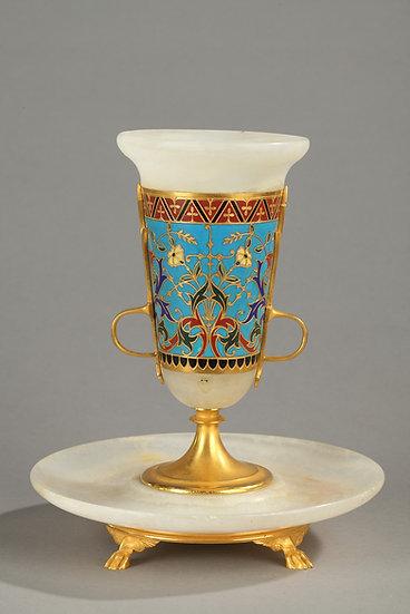 Vase en onyx et bronze cloisonné, Barbedienne