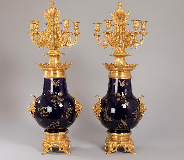Importants candélabres-vases Sarreguemines