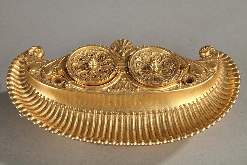 Encrier en bronze doré au mercure