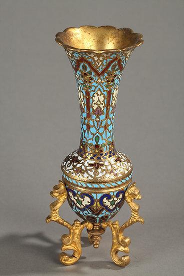 Triopod petervase de bronce y cloisonné