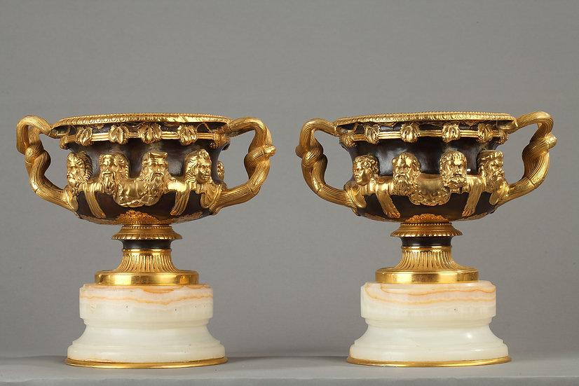 Paire de vases onyx et bronze, Warwick