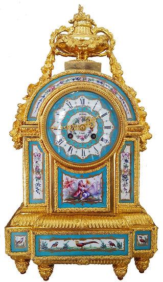 Pendule borne plaques de porcelaine signée Dubois à Paris