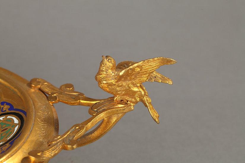 Plateau en bronze cloisonné signé Giroux