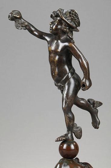 """Bronze """"Mercure soufflé par Zéphyr"""""""