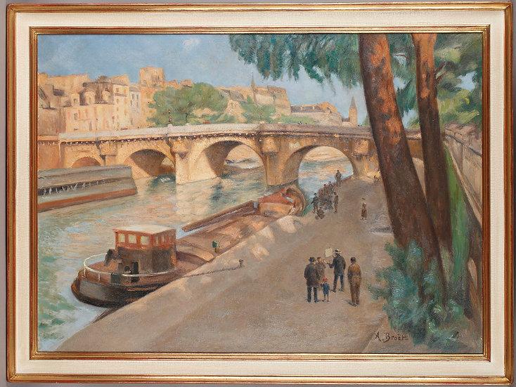 Le Pont Neuf à Paris. Importante H/Toile signée: BROËT