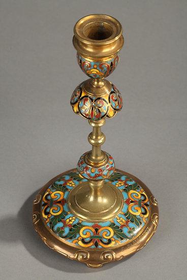 Paire de bougeoirs bronze doré et cloisonné F.Barbedienne