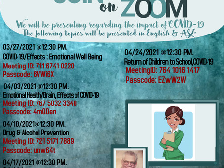 Upcoming PUV Zoom Presentations