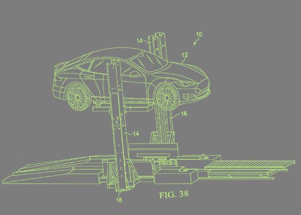 Tesla запатентует машину для замены аккумуляторов