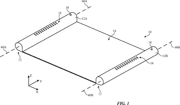 Apple получила патент на электронное устройство с гибким дисплеем в форме свитка