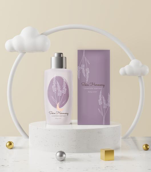 lavendar body lotion mockup