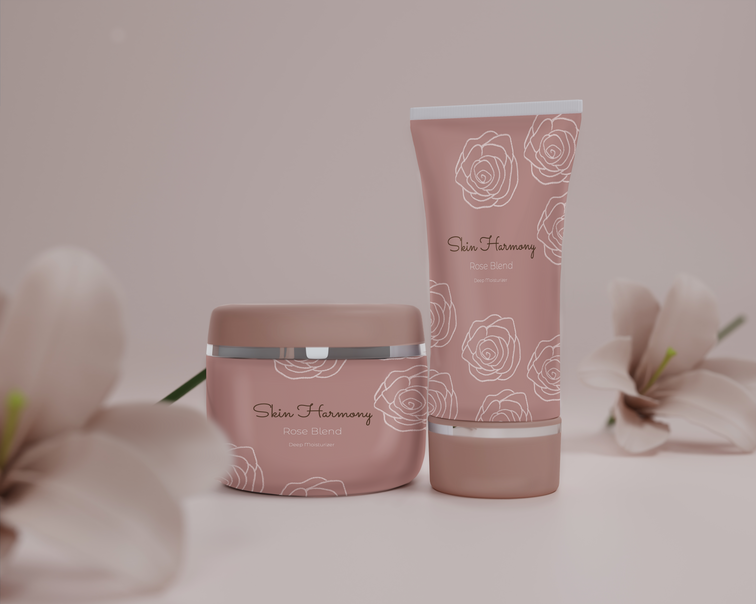 rose hand cream mockup